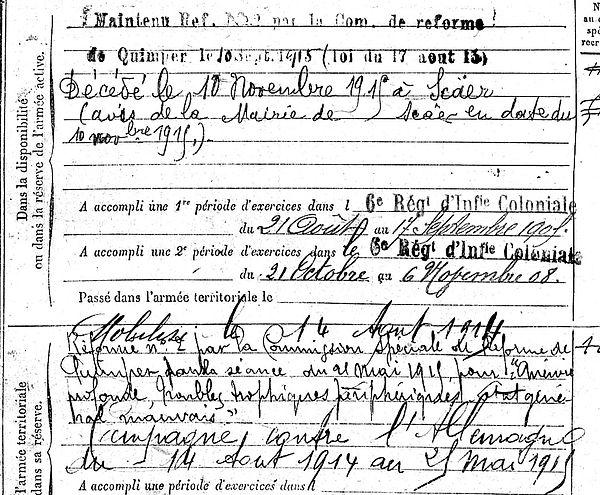 boedec jen marie scaer 14-18 Finistère Non Mort France Réformé maladie tuberculose suicide fusillé accident