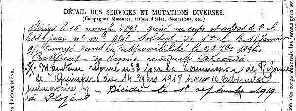 griffn jean marie pont croix infirmie plozevet 14-18 Finistère Non Mort France Réformé maladie tuberculose suicide fusillé accident