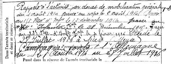 caroff jean marie plouenan nicey aire meuse 14-18 Finistère Non Mort France Réformé maladie tuberculose suicide fusillé accident