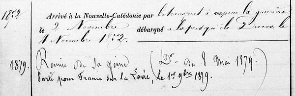 Dubreuilh Jean Baptiste Marie communard commune paris quimperle bagne nouvelle caledonie