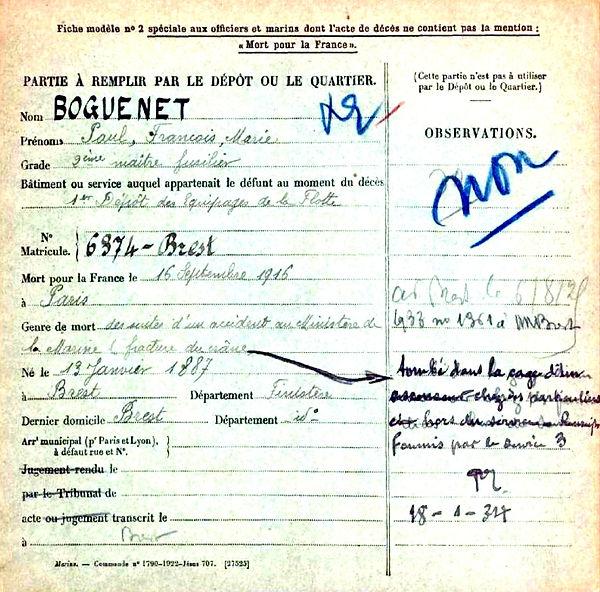 boguenet paul françois marie brest 14-18 Finistère Non Mort France Réformé maladie tuberculose suicide fusillé accident