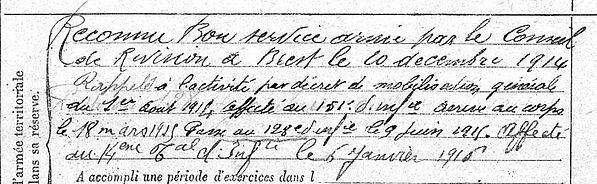 Abjean Uguen Paul Plounéour Trez Guerre 14-18 Finistère Non Mort France Réformé maladie tuberculose suicide fusillé accident