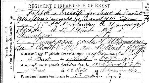 thomas jean françois marie commana quimper 14-18 Finistère Non Mort France Réformé maladie tuberculose suicide fusillé accident