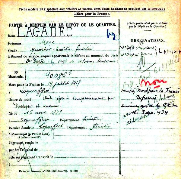 lagadec Marc loqueffret 14-18 Finistère Non Mort France Réformé maladie tuberculose suicide fusillé accident