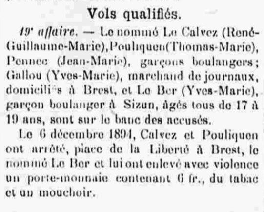 Calvez Guillaume René Marie plomodiern brest bagne guyane bagnard