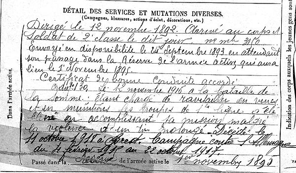 le bars corentin germain marie quimper brest 14-18 Finistère Non Mort France Réformé maladie tuberculose suicide fusillé accident