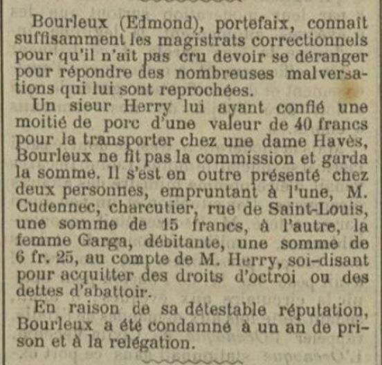 Bourleu Edmond Bernard brest bagne guyane bagnard finistere