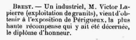 Lapierre Périgueux plouguin patrimoine histoire tailleur pierre granit