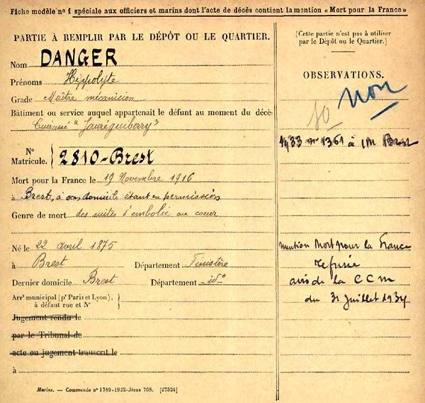 danger hippolyte brest cuirassé jauréguiberry brest 14-18 Finistère Non Mort France Réformé maladie tuberculose suicide fusillé accident