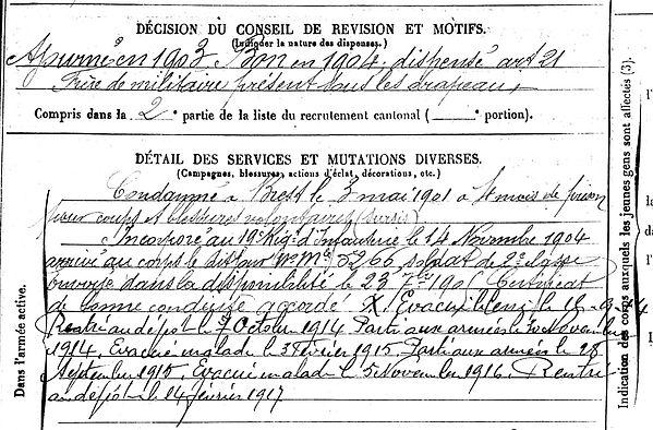 ploudalmezeau lannilis rene joseph uguen nantes 14-18 Finistère Non Mort France Réformé maladie tuberculose suicide fusillé accident