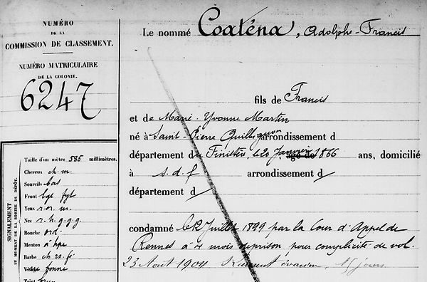Coatanéa Adolphe Francis Brest Saint Pierre Quilbignon martin bagne guyane bagnard
