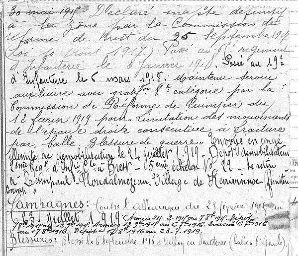Pennec Yves Lampaul ploudalmezeau patrick milan guerre 1914 1918 14 18 patrimoine histoire plouguin finistere saint pabu treouergat bretagne poilu marin
