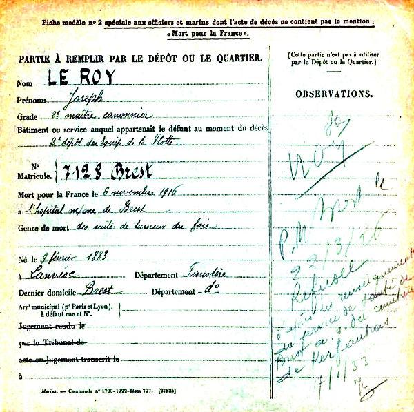 le roy joseph lanveoc brest 14-18 Finistère Non Mort France Réformé maladie tuberculose suicide fusillé accident