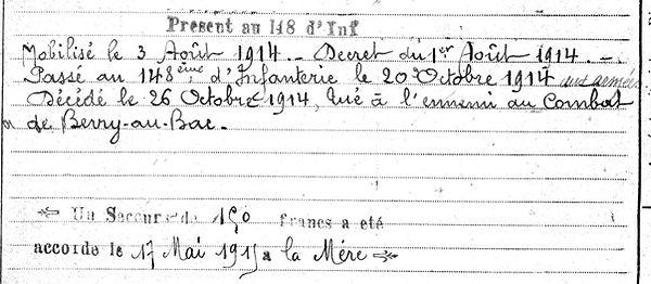 Goumelen Jean Piere Marie Esquibien Guerre 1914 1918 14-18 Finistère Finistérien Mort pour la France Berry au Bac cote 108 Sapigneul Choléra Moscou Mauchamp
