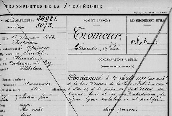 Tromeur Alexandre Félix rospoden le coz cayenn guyane bagne bagnard finistere