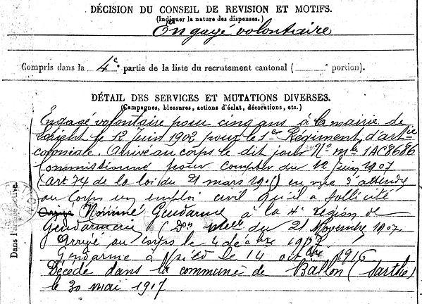 drouglazet michel louis marie quimperle baillou gendarme 14-18 Finistère Non Mort France Réformé maladie tuberculose suicide fusillé accident