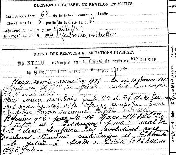 lanquetil henri marie scaer 14-18 Finistère Non Mort France Réformé maladie tuberculose suicide fusillé accident
