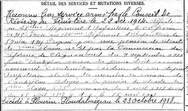 kerboul jean marie plourin ploudalmezeau 14-18 Finistère Non Mort France Réformé maladie tuberculose suicide fusillé accident