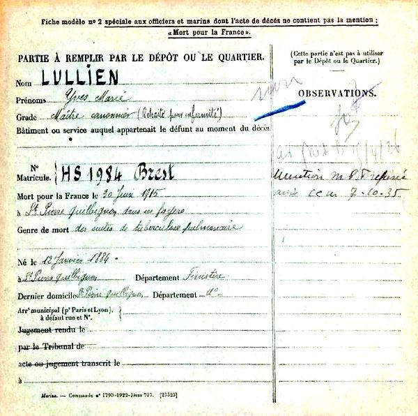 lullien yves marie brest saint pierre quilbignon 14-18 Finistère Non Mort France Réformé maladie tuberculose suicide fusillé accident