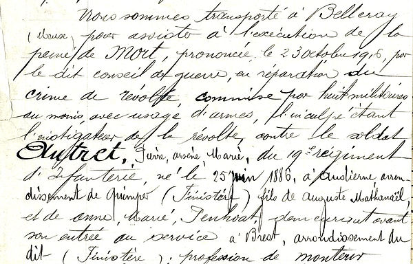 Autret pierre arsène marie audierne finistere condamné à mort fusille proces conseil guerre