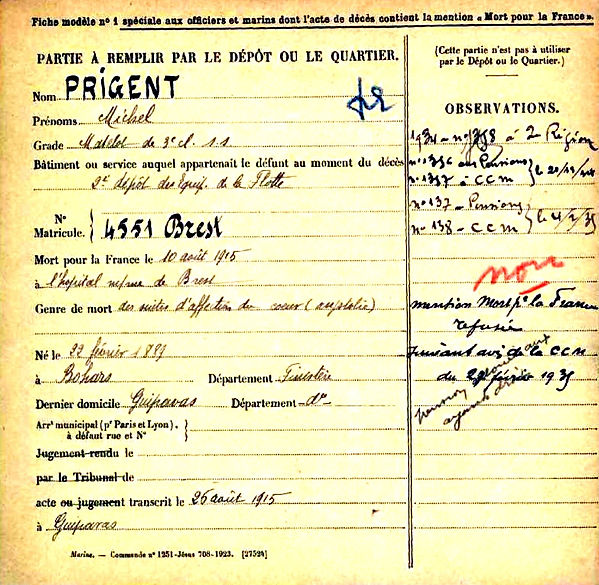 prigent michel bohars guipavas brest 14-18 Finistère Non Mort France Réformé maladie tuberculose suicide fusillé accident