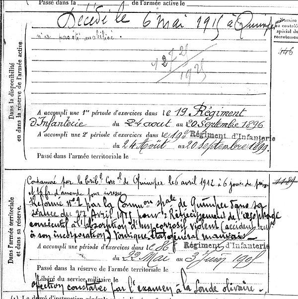 bernard hervé marie quéménéven quimper 14-18 Finistère Non Mort France Réformé maladie tuberculose suicide fusillé accident