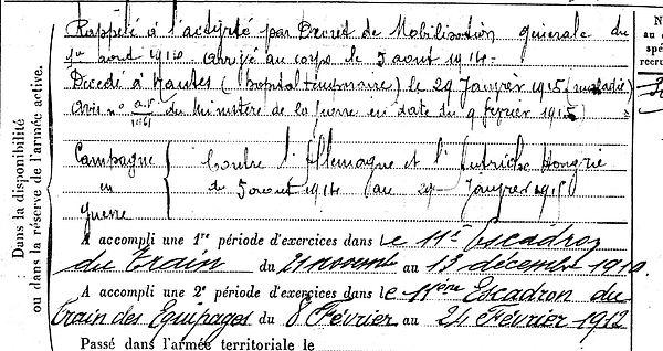 mahe jean louis joseph plougasnou nantes 14-18 Finistère Non Mort France Réformé maladie tuberculose suicide fusillé accident