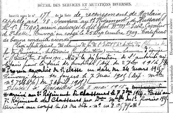 boga étienne ploujean 14-18 Finistère Non Mort France Réformé maladie tuberculose suicide fusillé accident