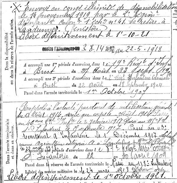 Colin Jean Marie Lampaul ploudalmezeau patrick milan anne apprioual guerre 1914 1917 14 18 patrimoine histoire plouguin finistere saint pabu