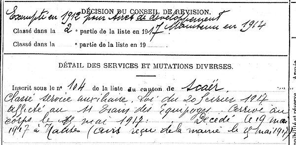 peron jean marie scaer nantes 14-18 Finistère Non Mort France Réformé maladie tuberculose suicide fusillé accident