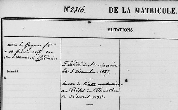 Herpe Julien François berne quimperlegorin bagne guyane bagnard finistere