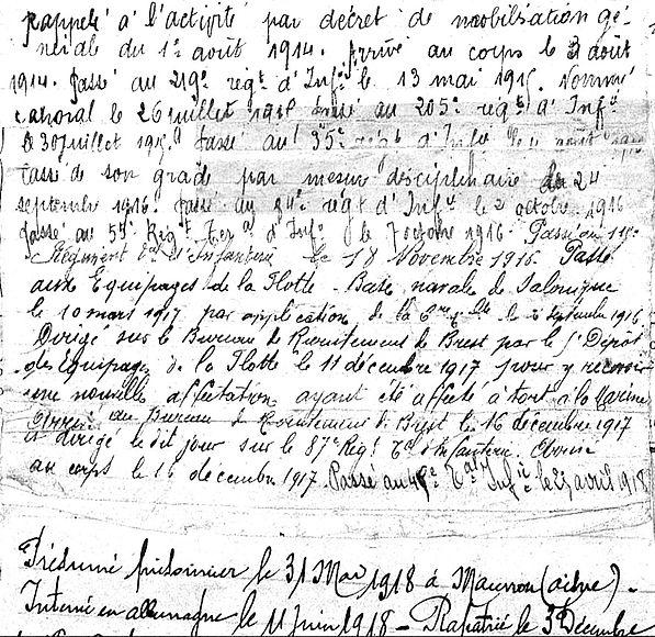 bohic Pierre Marie Taulé légion étrangère salonique brest morlaix 14-18 Finistère Non Mort France Réformé maladie tuberculose suicide fusillé accident