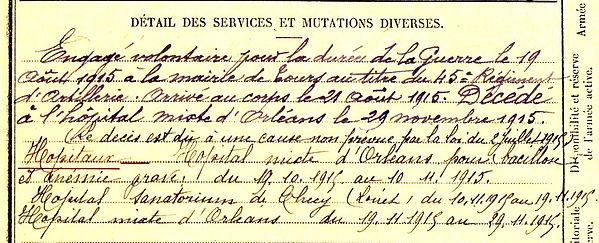 gouzien jean michel landrevarzec checy orleans 14-18 Finistère Non Mort France Réformé maladie tuberculose suicide fusillé accident