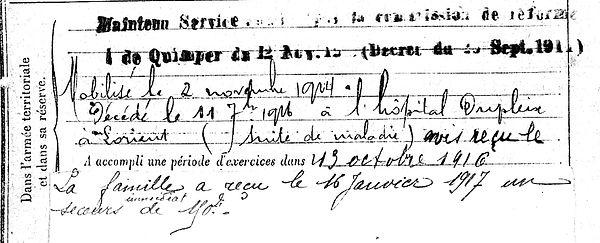 le queau laurent pierre saint coulitz dupleix lorient 14-18 Finistère Non Mort France Réformé maladie tuberculose suicide fusillé accident