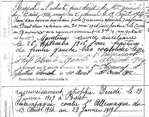 cloarec jean marie guicla brest 14-18 Finistère Non Mort France Réformé maladie tuberculose suicide fusillé accident