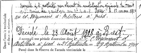 carn louis brest lambezellec 14-18 Finistère Non Mort France Réformé maladie tuberculose suicide fusillé accident