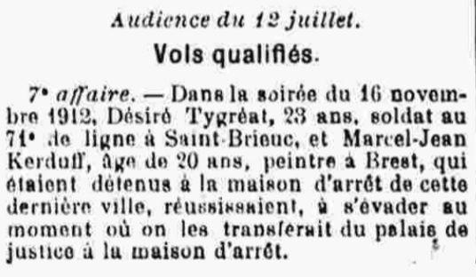 Tygréat Désiré Brest finistere bagne guyane bagnard