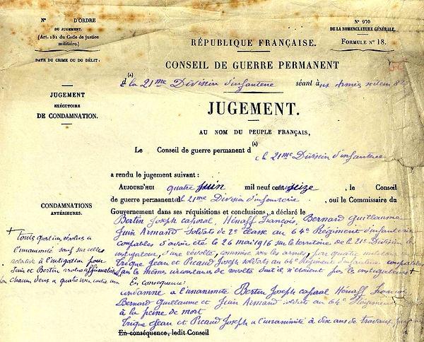 Bernard guillaume pleyben brest condamné mort rebellion 14-18 Finistère Non Mort France Réformé maladie tuberculose suicide fusillé accident