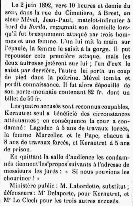 Pape Jean Marie kermarrec dirinon bagne guyane travaux forces finistere bagnard