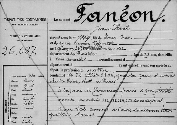 Fanéon Jean René anarchiste bagne guyane quimper evasion finistere
