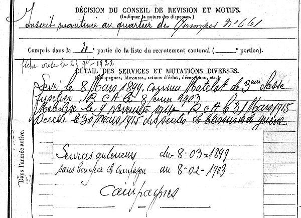 cabellan jean louis pleuven nieuport zuydcoote 14-18 Finistère Non Mort France Réformé maladie tuberculose suicide fusillé accident