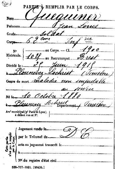 queguiner jean louis plounevez lochrist 14-18 Finistère Non Mort France Réformé maladie tuberculose suicide fusillé accident
