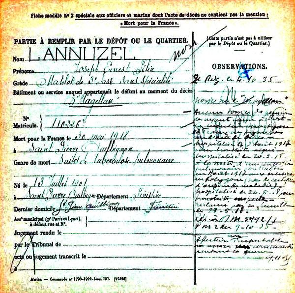 lannuzel joseph ernest felix brest saint pierre quilbignon magellan 14-18 Finistère Non Mort France Réformé maladie tuberculose suicide fusillé accident