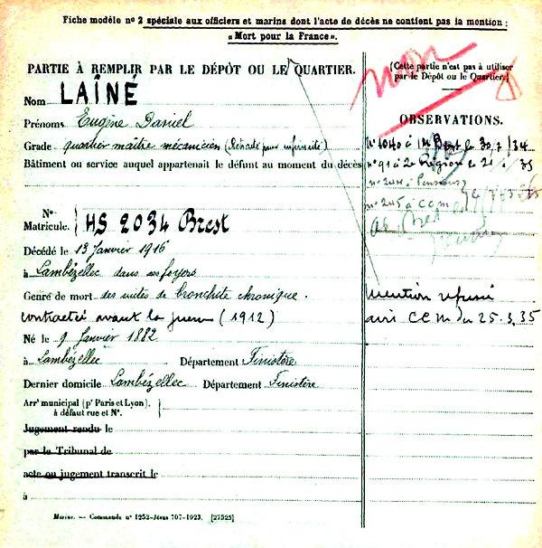 laine eugene daniel brest lambezellec 14-18 Finistère Non Mort France Réformé maladie tuberculose suicide fusillé accident