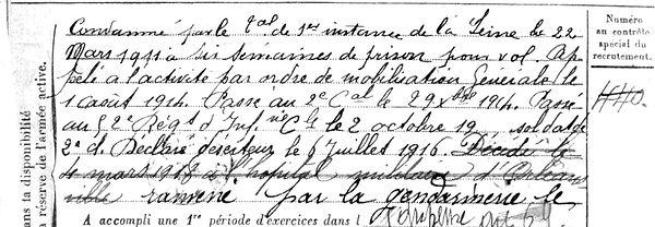 germain emile marie brest deserteur prisonnier detenu orleanville alger algerie tonkin 14-18 Finistère Non Mort France Réformé maladie tuberculose suicide fusillé accident