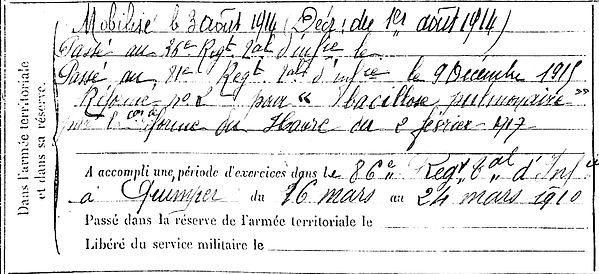 rannou jean tourch ergue gaberic 14-18 Finistère Non Mort France Réformé maladie tuberculose suicide fusillé accident