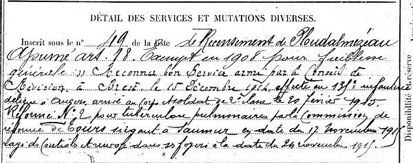 goachet albert marie brest plourin ploudalmezeau 14-18 Finistère Non Mort France Réformé maladie tuberculose suicide fusillé accident