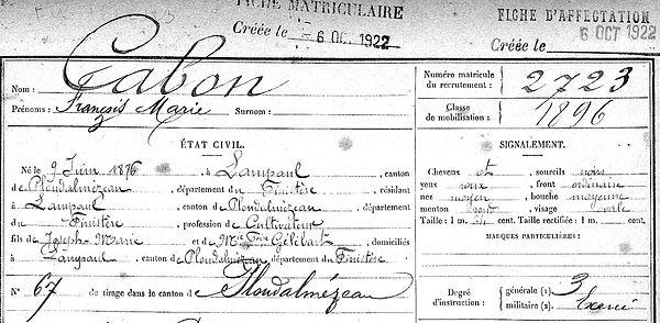 Cabon François Marie Lampaul ploudalmezeau patrick milan anne apprioual guerre 1914 1917 14 18 patrimoine histoire plouguin finistere saint pabu