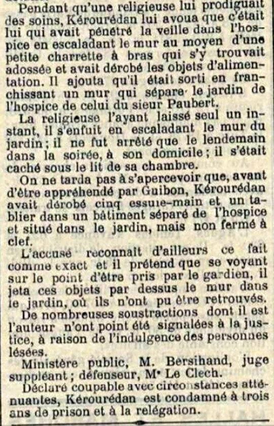 Kérourédan Pierre Marie beuzec cap sizun ploaré bagne guyane bagnard finistere