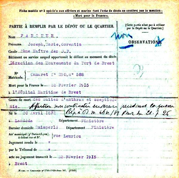 parquer joseph marie corentin landeda direction port brest 14-18 Finistère Non Mort France Réformé maladie tuberculose suicide fusillé accident